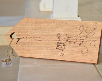 SALEAsh Wood Serving Board, Hand Burned Musicnote Design, Hand Cut  Handle Cheese Board