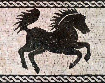 Black Horse Handmade Marble Mosaic