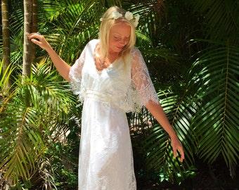 Chantilly Lace Butterfly Sleeve dress, Bohemian beach wedding