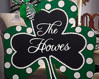 Saint Patricks Day Door Hanger, Shamrock Door Hanger, Spring Door, St Patrick's Wreath, Easter Door