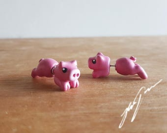 Piggy Earrings, two part stud, fake gauge, cute unique sculpted jewelry