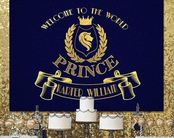 SALE Prince Backdrop, Prince Baby Shower Decor, Prince Birthday Sign, Royal  Blue Gold