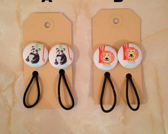 Zoo animal fabric button hair elastic, panda hair bobble, lion hair bobble, stocking filler