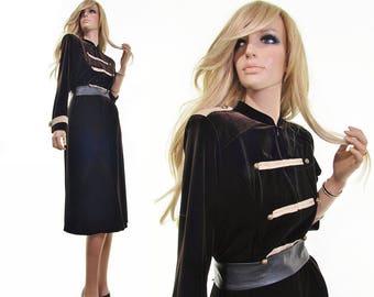 epaulettes velvet dress military dress ivory chocolate brown velvet dress steampunk dress 90s dress vintage clothing womens clothing m