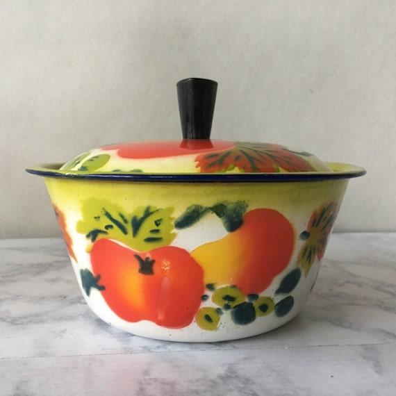 Enamel Kitchen Accessories: Vintage Enamelware Pot Fruit Kitchen Decor Enamel Pot With