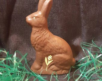 Ceramic Chocolate Bunny  - Chocolate Bunny  - Ceramic Easter - Easter Bunny - Chocolate Bunny Yellow Flower - Ready To Ship
