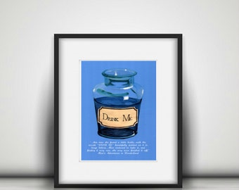 Alice in Wonderland, Drink Me Bottle Alice Quotes Alice's Adventures, Art Print A4 Print A3 Print Wall Art Archival Illustrated Print