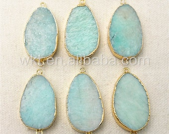 WT-C155 New Large Wholesale Amazonite Teardrop Connector,Fashion Green Gemstone Amazonite With Gold Electroplated Freedom 30mm Connector
