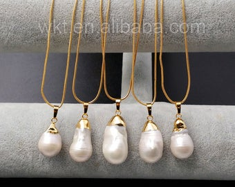 WT-MN912 Gorgeous Mother of Pearl Necklace,Unique Pearl With 24k Real Gold Electroplated Cap Bail Necklace,Women Pearl Necklace For Mom