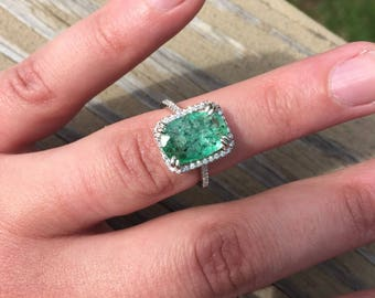 Vintage 3.50ct COLOMBIAN Emerald Ring 18k White Gold Diamond Halo Estate Ring Engagement Wedding Anniversary