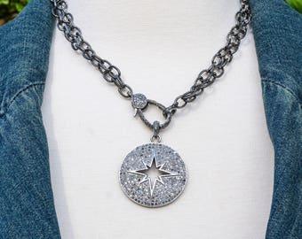 Pave Diamond Starburst Pendant - Pave Diamond Pendant - Pave Diamond Clasp - Layering Necklace - Diamond Star - Long Chain - Diamond Chain
