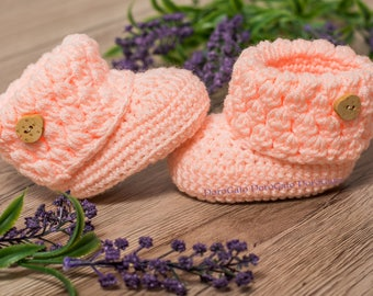 Crochet baby Booties, Crochet baby boots, Pregnancy reveal, Grandparent announcement, newborn boots, boy gift, girl shoes