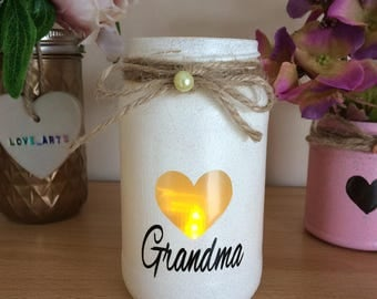 Motherdays day grandma candle hand painted lantern spa light candle holder pink handmade painted mermaid lights cute candle vintage love