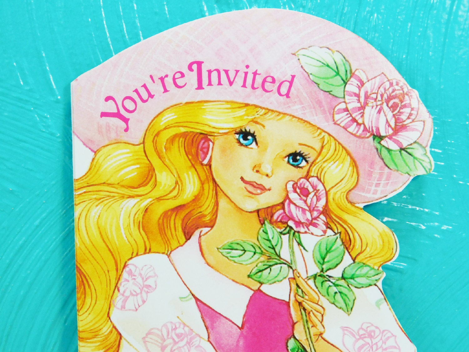 Vintage 1993 Peppermint Rose Party Invitations, 4 Child\'s Birthday ...