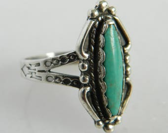 Vintage Sterling Silver Native American Turquoise Ring size 8