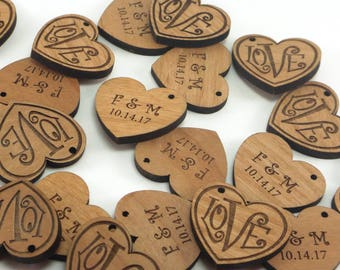 Personalized Wedding Tags, Wedding Favor Tags, Custom Wood Heart Charms, Love Charms