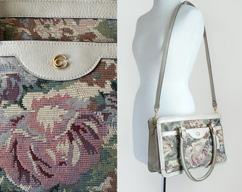 Vintage 80's Floral Tapestry and Cream Beige Leather Handbag Shoulder Bag with Gold Hardware