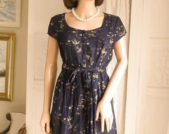 Unworn Navy blue bird print dress Mini Dress Summer dress Boho dress Festival Beach Summer Hippie  Secretary dress Indian dress Tea dress