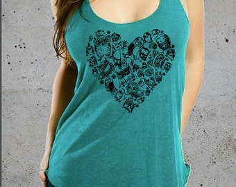 Womens OWL HEART Shirt)Owl Tank Top-Owl Tshirt-Womens Graphic Tees,Best friend Gift,Girlfriend Gift-Yoga Clothes-Birthday Gift Gifts