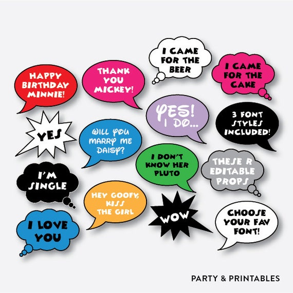 Instant download 20 pieces editable speech bubble photo for Photo booth speech bubble template
