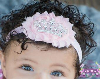 Light Pink Tiara Baby Girl Headband, Pink Infant Headband, Glam Baby Bow, Pink Newborn Tiara Headband, Baby Shower Gift Girl, Newborn Tiara