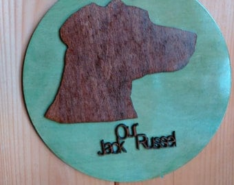 custom Pet, dog ,cat plywood cutout and stained .Made to be Personalized with name added to it (c_JackRussel_11.5xb)