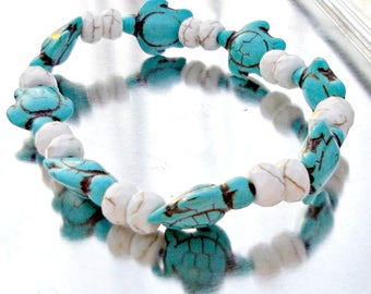 Sea Turtle Stretch Bracelet, Boho Beach Bracelet, Stackable Bracelet, Surfer Elastic Bracelet, Howlite Bracelet, Gemstone Beads, Bohemian