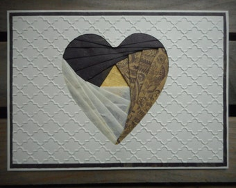 Heart handcrafted greeting card iris folding shades of dark purple, beige and gold