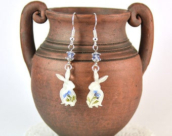 Easter Bunny Rabbit ( hare ) shaped earrings with real dried Forget me not flowers in epoxy resin - Easter Rabbit earrings - Hare earrings