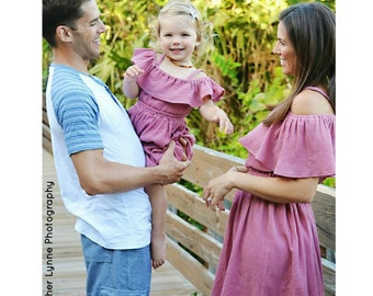 Women's (XS-XXXL) Mauve Off The Shoulder Ruffle Dress. Antique Rose. Pink. Mommy and Me Dress. Daughter. Spring Summer