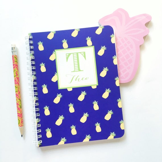 Pineapple notebook, spiral notebook, monogrammed notebook, custom notebook, fruity pattern notebook, pineapple stationery, monogrammed
