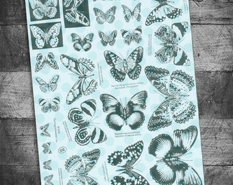 butterfly stamps, butterfly rubber stamps, bug stamps, butterfly specimens,  bible journaling stamps,  unmounted Rubber, Starving Artistamps