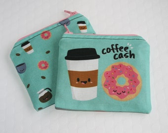 Coffee Coin Purse, Coffee Donut Change Purse, Small Money Pouch, Cute Coffee Money Bag, Coffee Doughnut Purse, Stocking Stuffer, Coffee Love