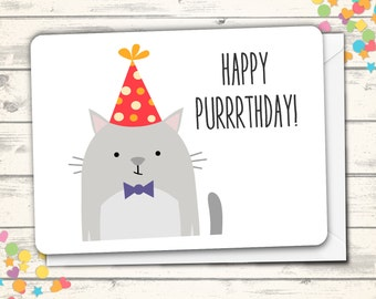 Happy Birthday Card, Cat Birthday Card, Cat Pun, Birthday Pun, Kitty Card, Gray Cat, Cute Birthday Greeting, Silly Cat Card, Animal Pun