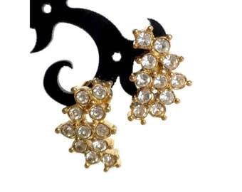 Leaf Shaped Clear Rhinestone Earrings For Pierced Ears by Avon - Leaf Earrings, Clear Earrings, Gold Earrings, Bridal Earring, Prom Earring