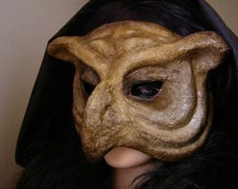 Masquerade mask Owl mask Bird mask Animal mask Paper mache mask Owl costume Paper owl mask Halloween mask Scary mask