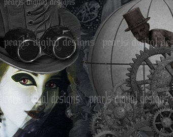 Steampunk Night, large Cover banner and Shop Icon, instant download, blank, gears, clocks, top hats, balloon, dark lady, black, googles
