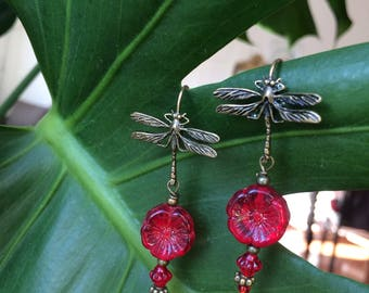Earrings red Dragonfly - red dragonfly