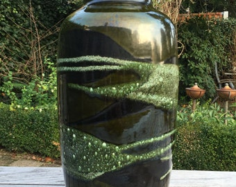Scheurich XL 291  -  45   Mid Century Modern stylish Green Floor vase end 1970s West Germany.  WGP.