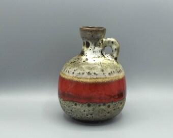Ruscha  333 Vintage  Vase, designer ; Kurt Tschöner , Mid-Century Modern Pottery 1960s / 1970s  West Germany. WGP handled vase.
