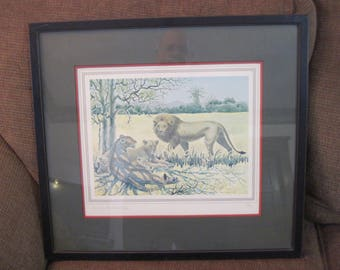 Pride of Lions by Charles Baskerville Jr. water color print Framed Signed by the artist #109 of 500