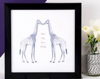 Giraffe Print; Kissing Giraffes; Love Print; Love Quote; Wedding Gift; Valentine Gift; Anniversary Gift; AP009