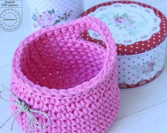 crochet HANGING BASKET PDF, crochet pattern, diy basket, T shirt yarn basket, home decor baket, storage basket, crochet pattern