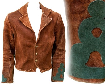 1960s Large Leather Jacket Brown Suede North Beach Hippie Western Boho Coachella Festival Char Hand Tooled Plus Size Bohemian Penny Lane Mod