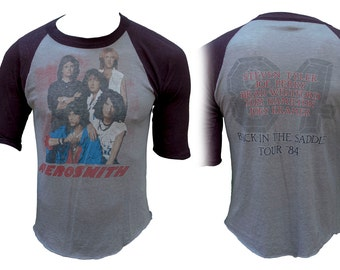 1984 Aerosmith Band Tee T Shirt Back In The Saddle Tour Distressed 80s Steven Tyler Hair Metal Heavy Rock Classic Concert Tour Punk