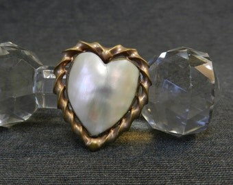 Vintage Brass & Mother of Pearl Heart Brooch/ Pin