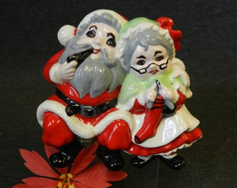Vintage 1980s Shelf Sitting Santa and Mrs. Claus - Hand Painted Ceramic