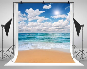 Sea Beach Blue Sky White Clouds Photography Backdrops Sunny Holiday Photo Backgrounds for Children Studio Props