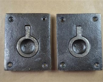 A pair vintage industrial styled inset casement handle pull lifting handle AL61