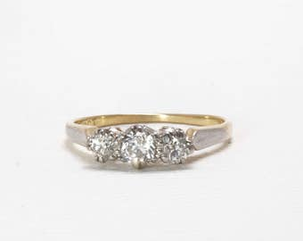 Vintage Engagement Ring | Three Stone | Trinity | Diamond | Old Cut | Wedding Band | Versatile | 18 Carat | Item 85217